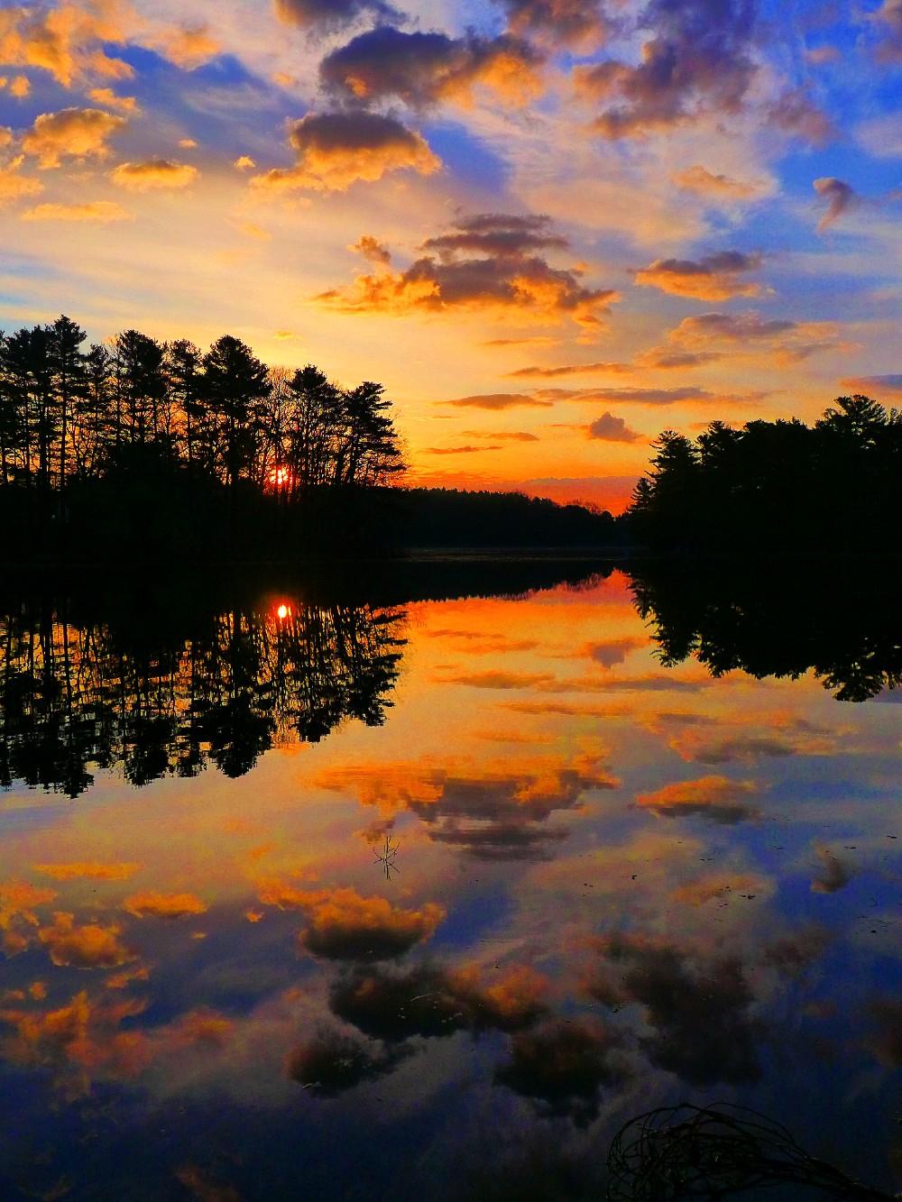 Sunrise at Turner Pond in Walpole, MA.