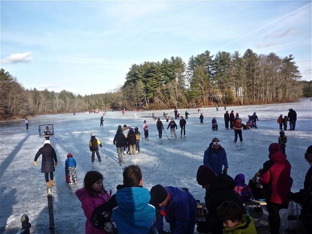 Ice skating at Turner Pond in Walpole, Massachusetts.
