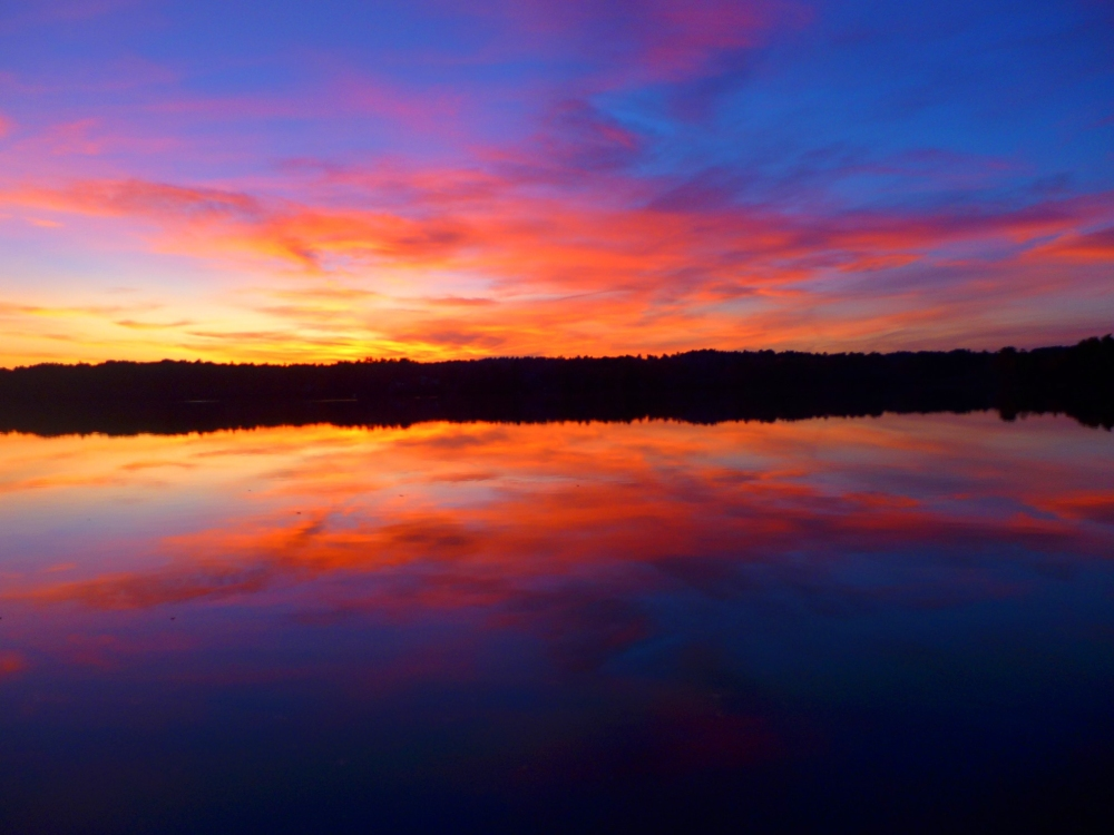 Another amazing sunset at Willett Pond in Walpole, Mass.