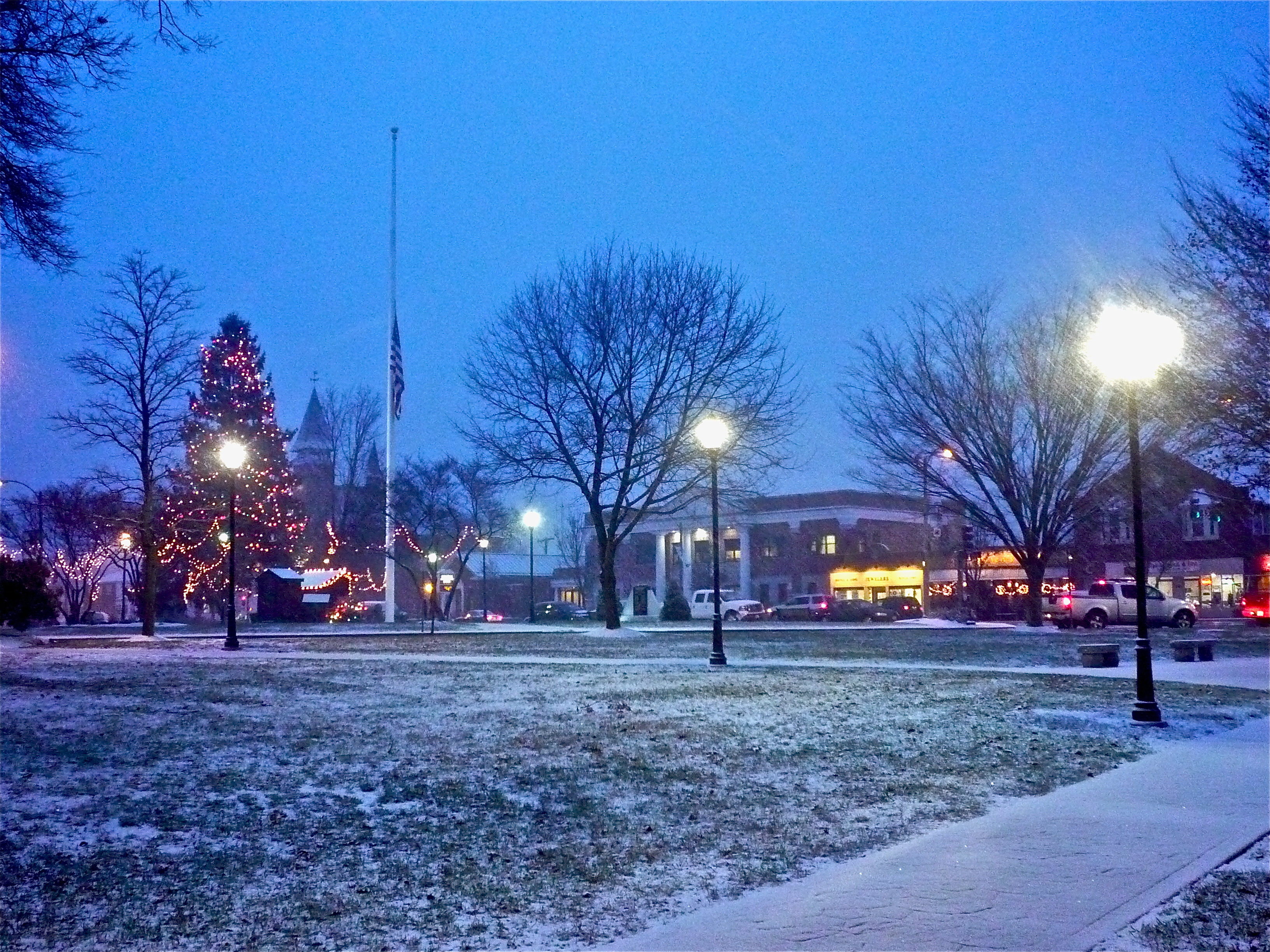 Photo of downtown Walpole MA town common at Christmas