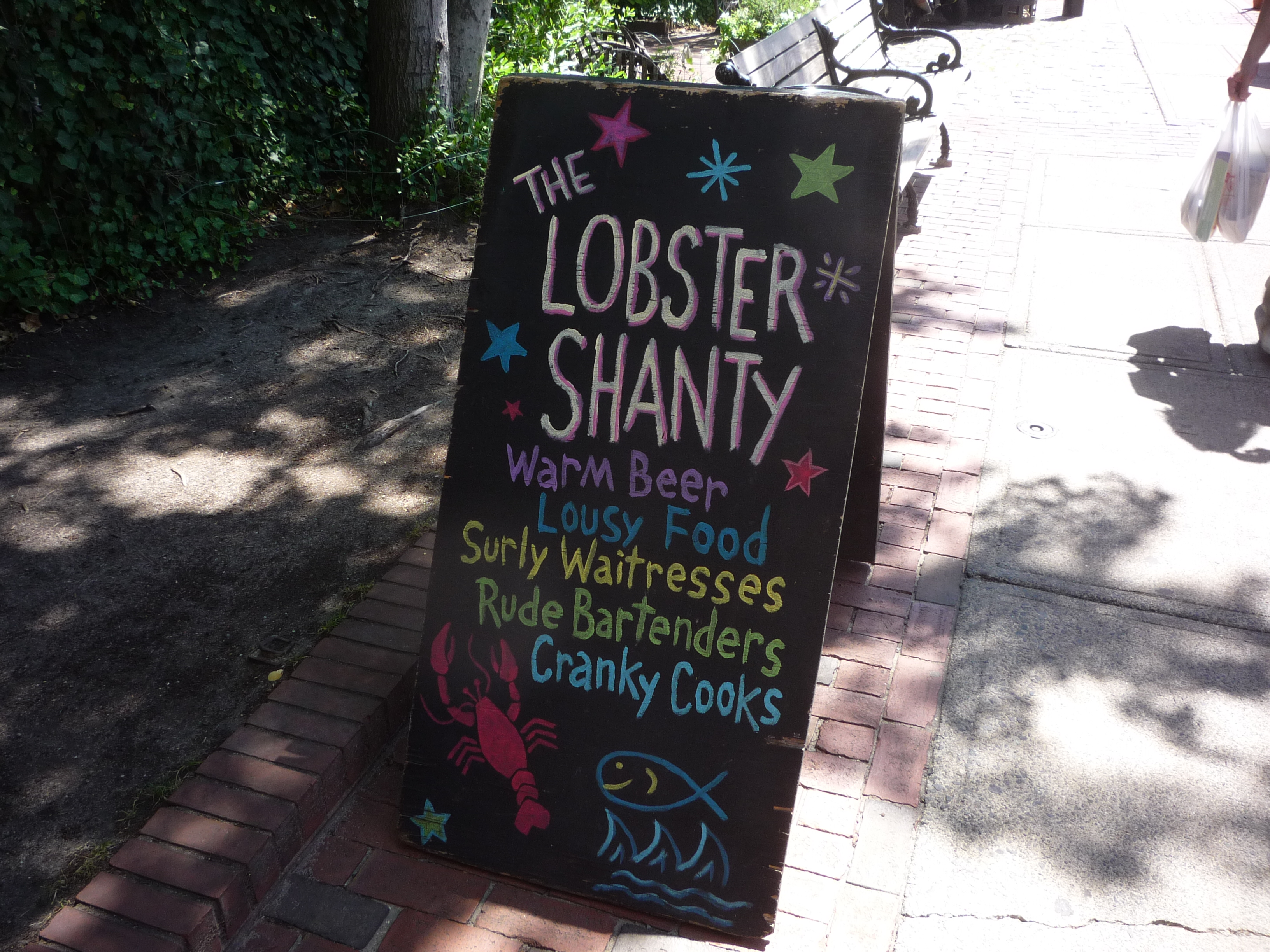 Photo of The Lobster Shanty sign, Salem MA