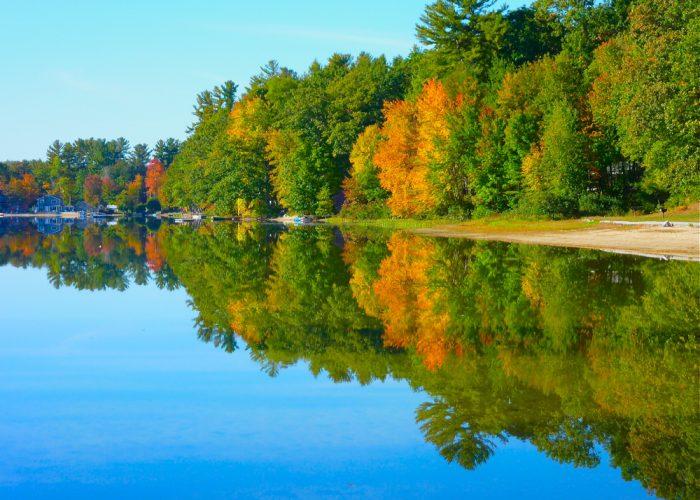 An autumn foliage scene at Silver Lake in Hollis, N.H.