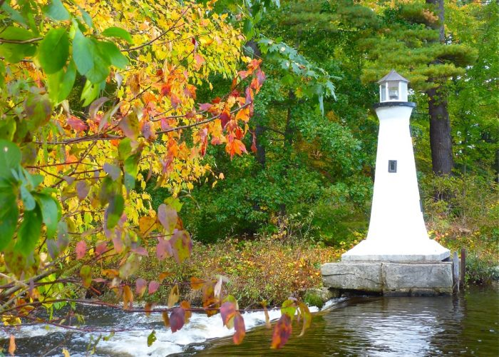 Autumn scenes: Lighthouse at Lake Potanipo in Brookline, N.H.