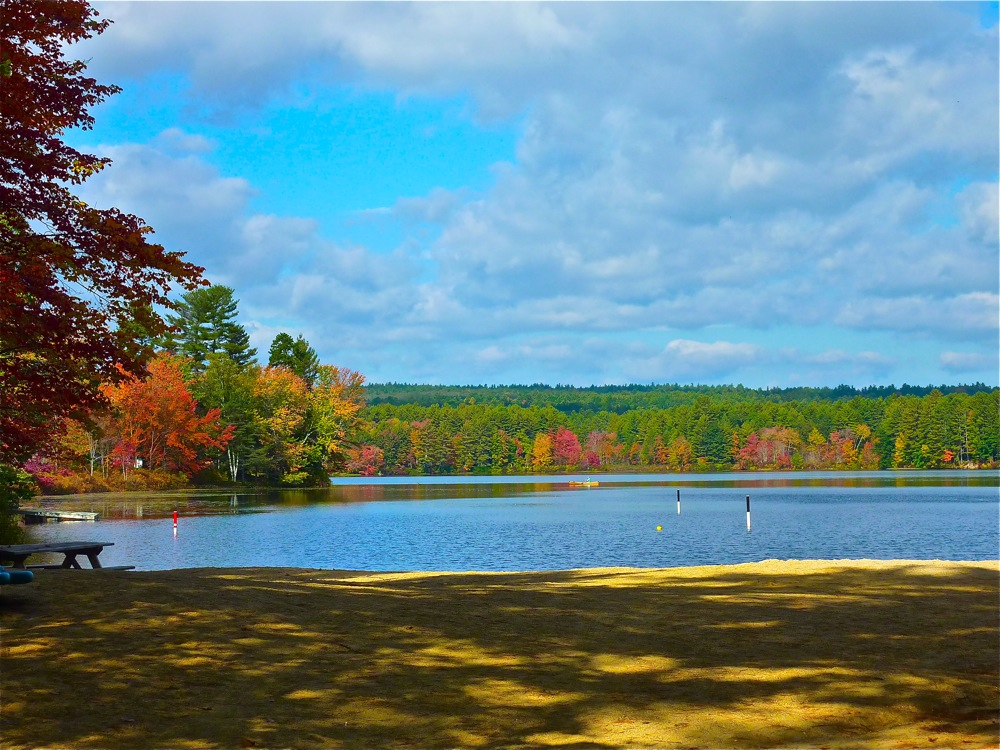 Fall scenes in New England: Lake Potanipo in Brookline, N.H.