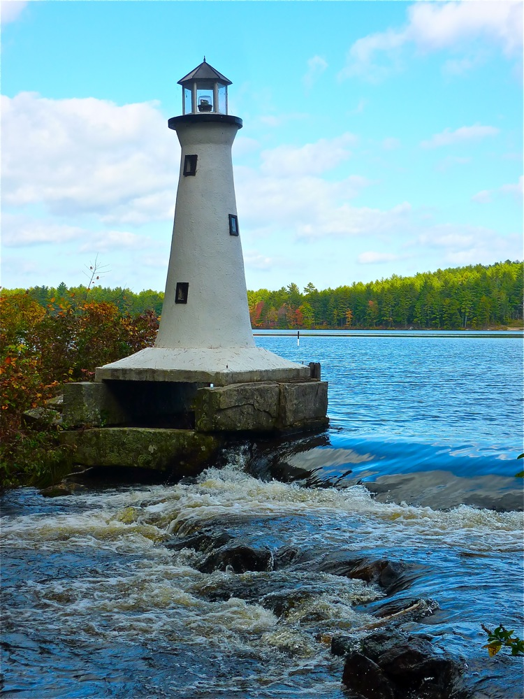 Lake Potanipo Lighthouse in Brookline, New Hampshire