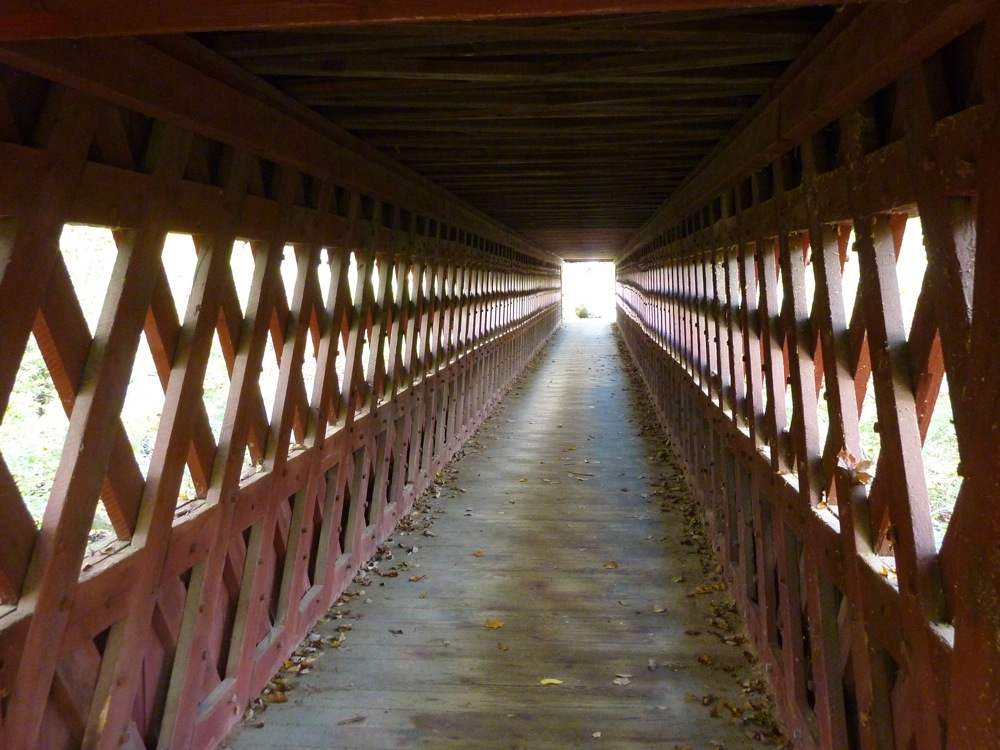Inside of Nissitissit Covered Bridge in Brookline, New Hampshire.