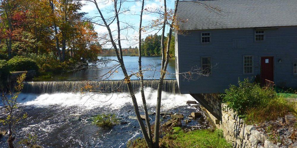Spaulding Gristmill waterfall in Townsend, Massachusetts