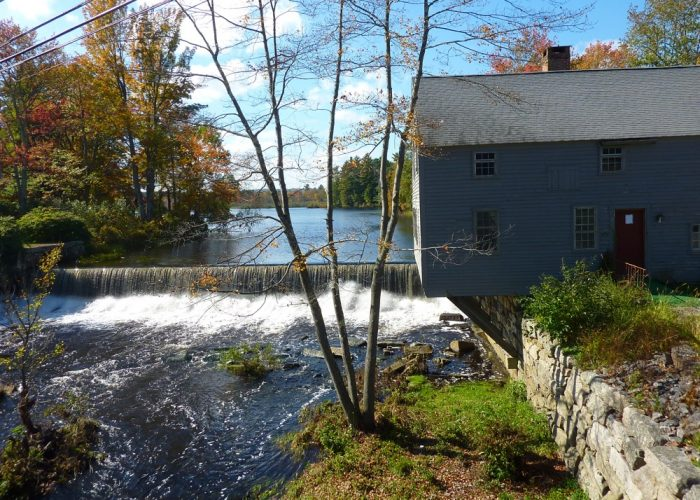 Spaulding Gristmill waterfall in Townsend, Massachusetts