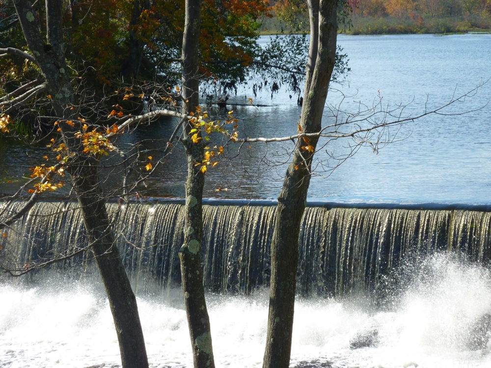 Scenic waterfall at the old Spaulding Gristmill iste in in Townsend, Massachusetts.