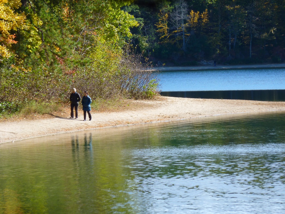 Walking at Walden Pond in Concord, Massachusetts.