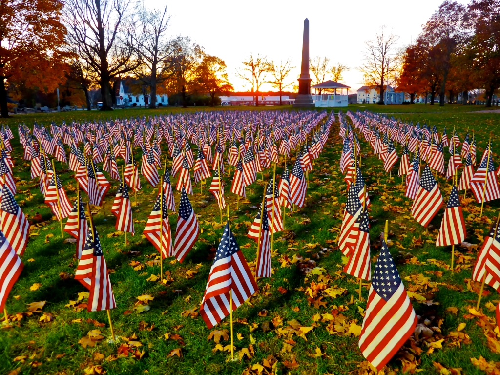 Spectacular Field of Flags at the Town Green in East Bridgewater, Massachusetts.