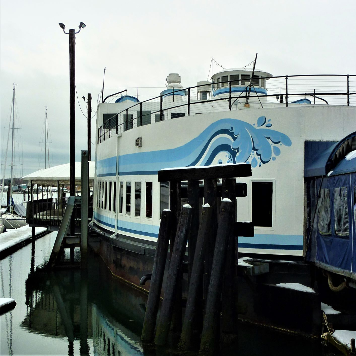 DiMillo's On the Water is located on a converted car ferry at the Portland, ME waterfront.