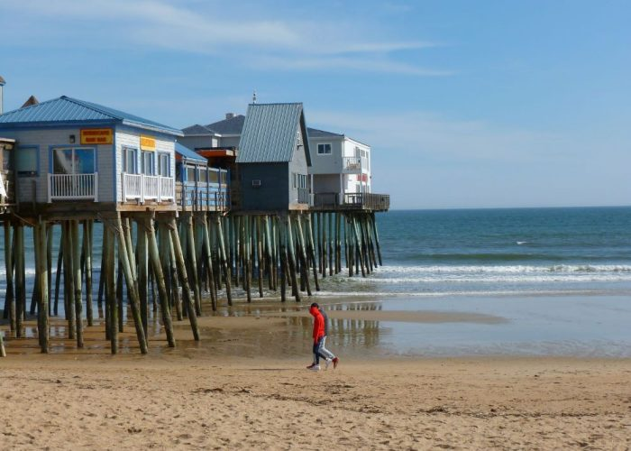 Off season social distancing at Old Orchard Beach, Maine.