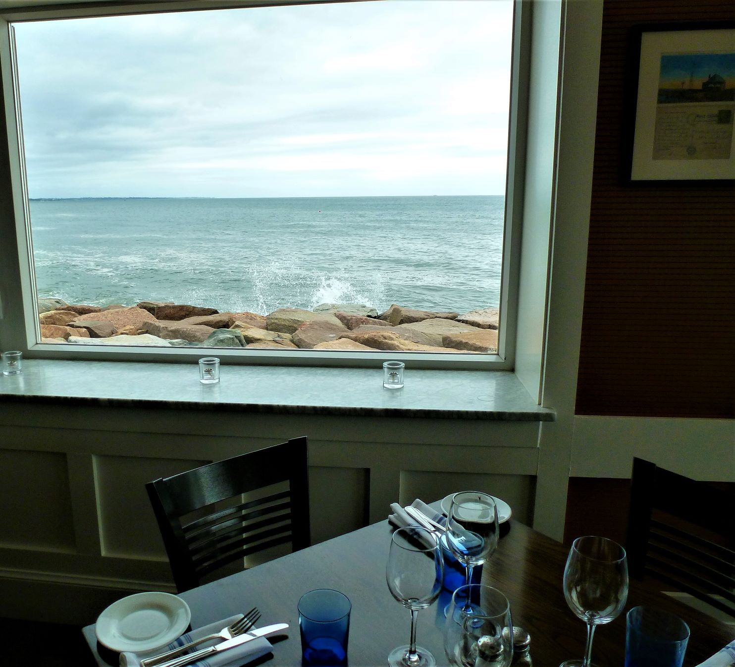 Water views from the Coast Guard House Restaurant in Narragansett, Rhode Island.