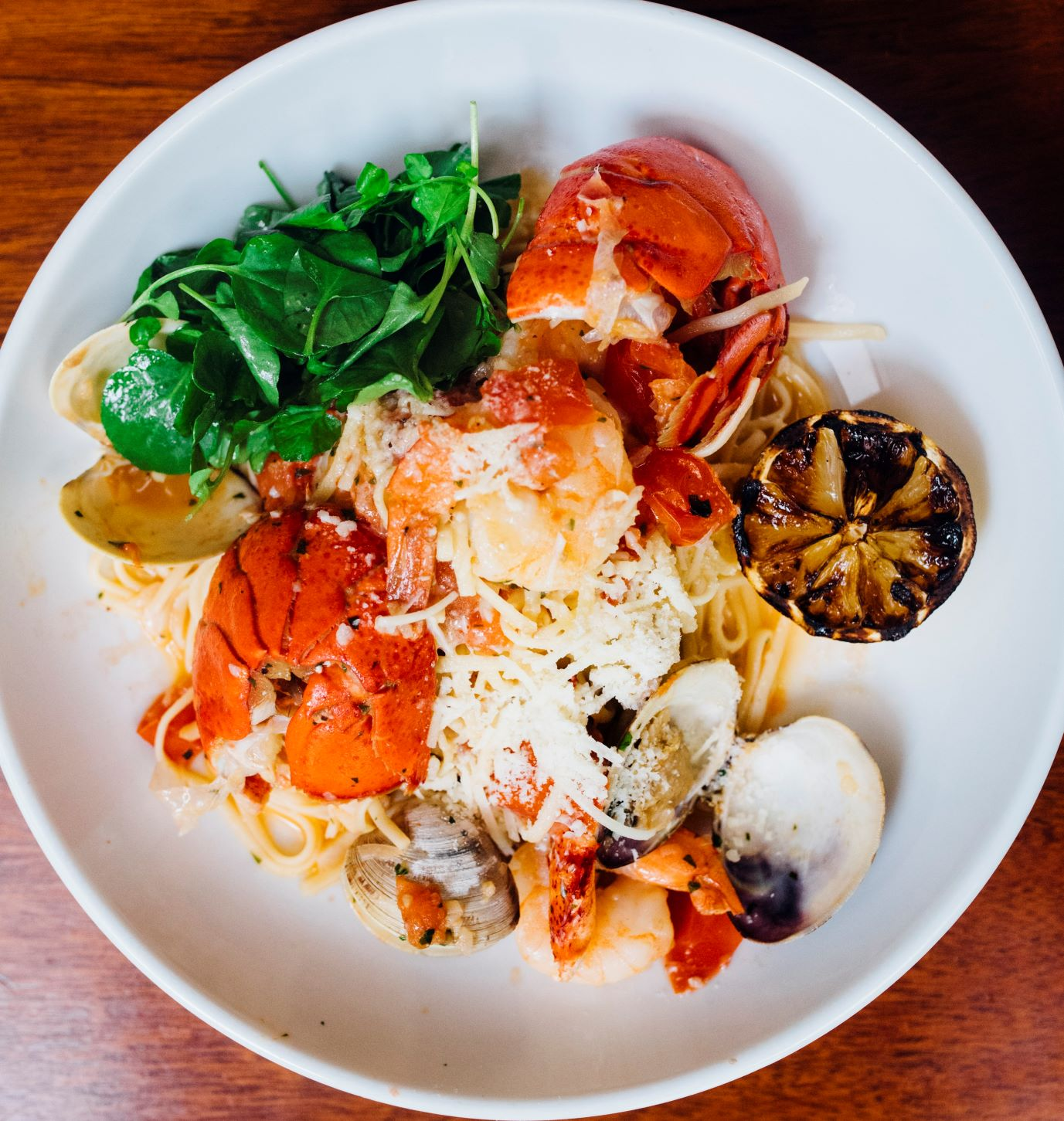 Maine seafood pasta from Jonathan's in Ogunquit, Maine.