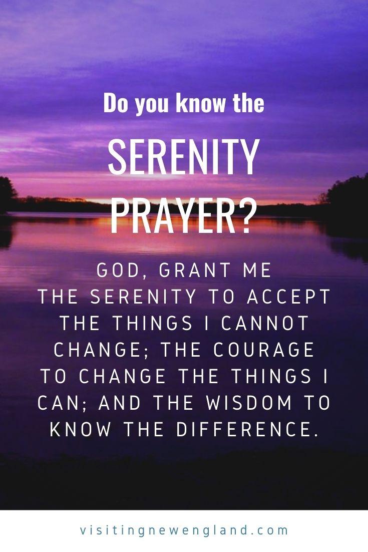 Wise Words from The Serenity Prayer. Photo taken at Willett Pond in Walpole, Mass.