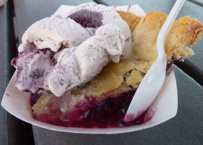 Wild Maine blueberry pie and ice cream from Fox's Lobster House in York Beach, Maine.