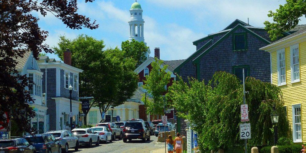 Rockport, Massachusetts features a quaint downtown...
