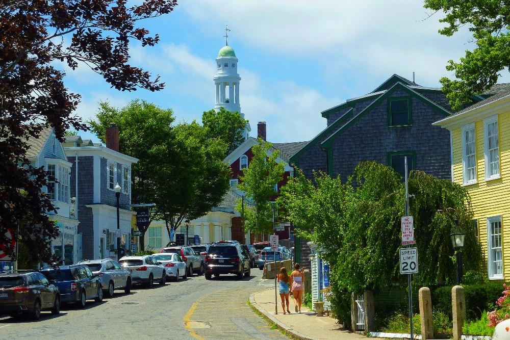 Rockport, Massachusetts features a quaint New England downtown...