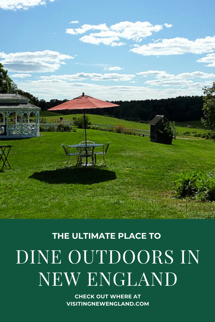 This outdoor dining spot in New England is like being a a Currier and Ives painting and a Food and Wine Magazine article coming to life.