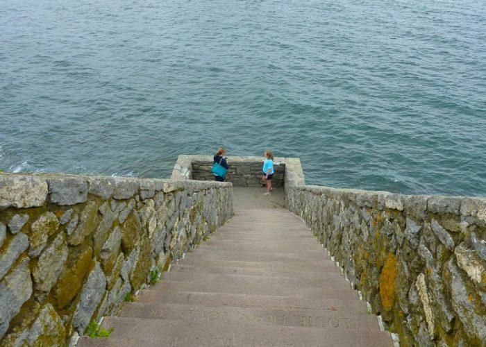Stairway to the ocean at Newport's Cliff Walk in Newport, R.I.