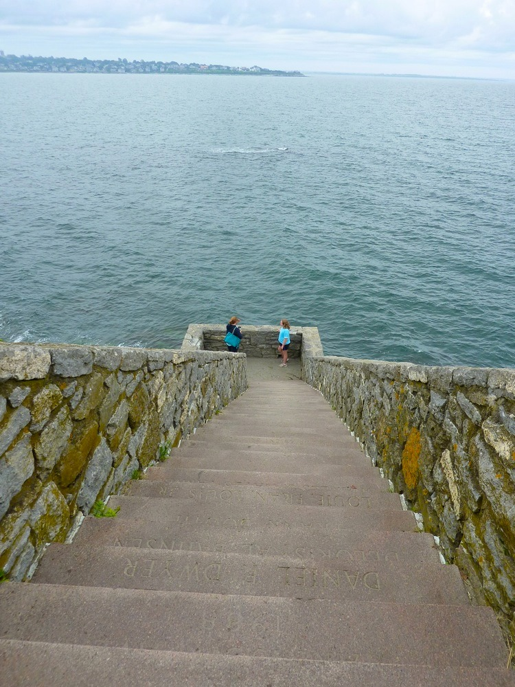 Stairway to the ocean at Newport's Cliff Walk in Newport, R.I.
