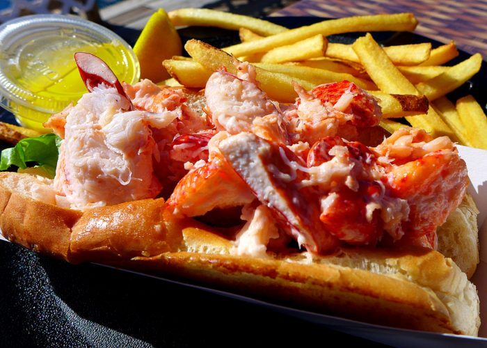 Maine lobster roll from Warren's Lobster House in Kittery, ME.