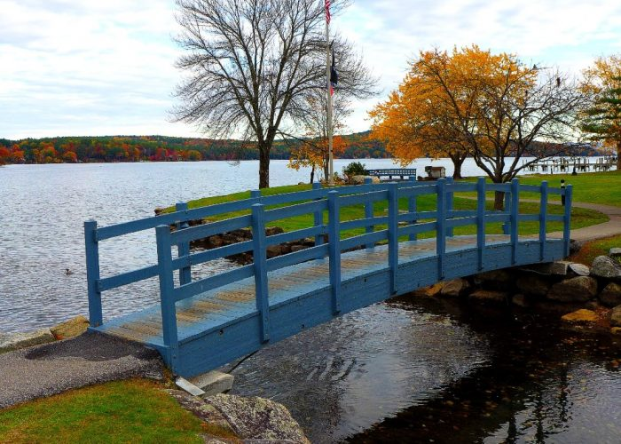 Walking bridge along Lake Winnipesaukee in Meredith, NH.