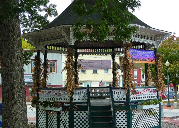 This small New Hamoshire town features a beautiful bandstand at the Town Common,