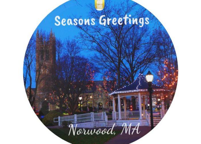 Norwood MA glass ornament