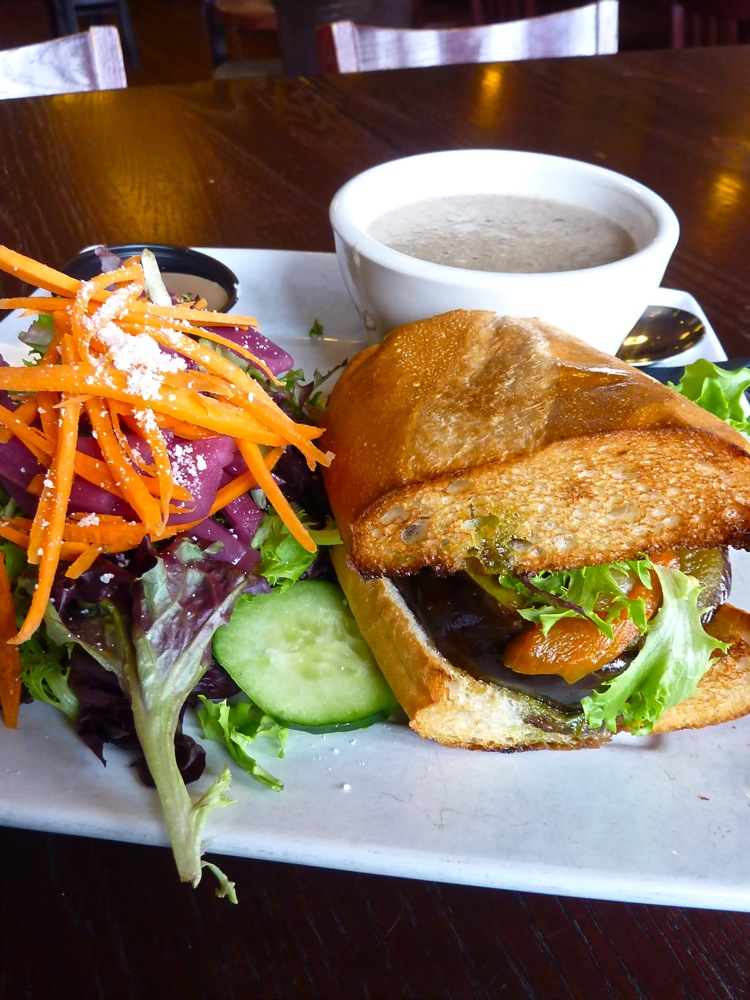 Trifecta lunch at The Raven's Nest in Walpole, Mass.achusetts, consists of an eggplant sandwich salad and homemade soup.