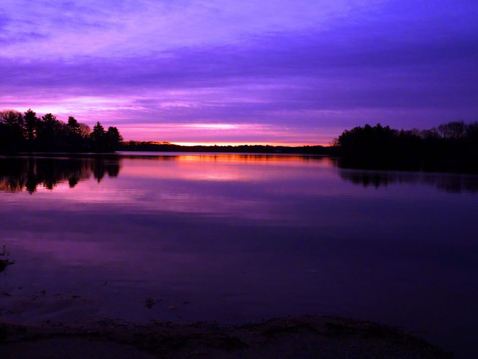 Sunrise at Willett Pond in North Walpole, Mass.